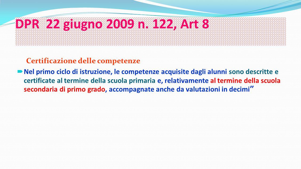 DPR 22 giugno 2009 n. 122, Art 8 Certificazione delle competenze  Nel primo ciclo di istruzione, le competenze acquisite dagli alunni sono descritte