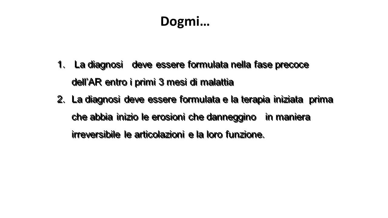 1. La diagnosi deve essere formulata nella fase precoce dell'AR entro i primi 3 mesi di malattia 2.La diagnosi deve essere formulata e la terapia iniz
