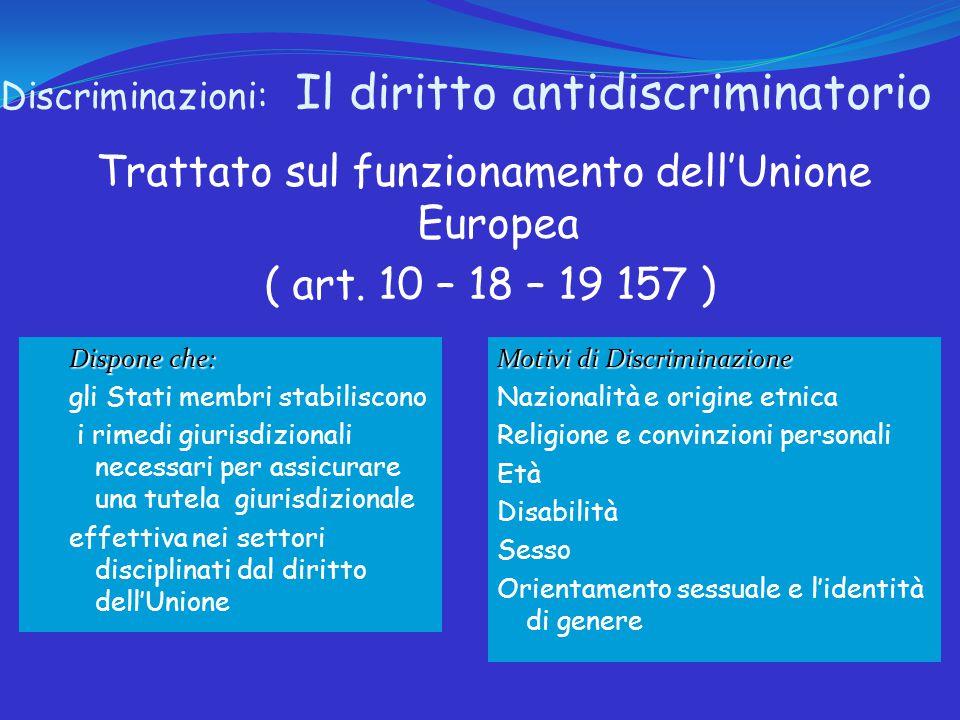 Discriminazioni: Il diritto antidiscriminatorio Trattato sul funzionamento dell'Unione Europea ( art.