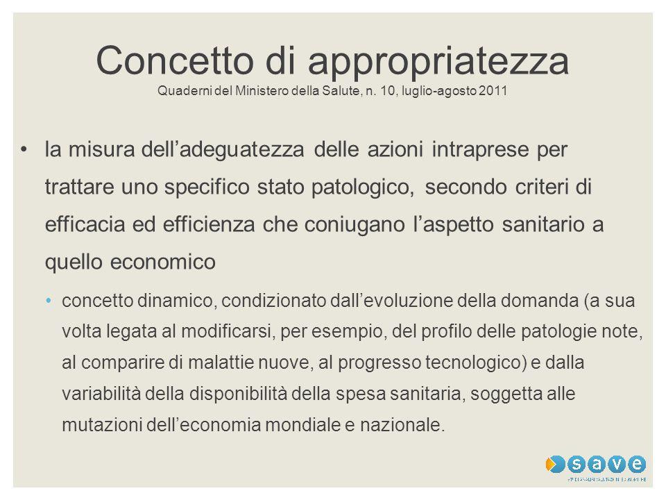 Concetto di appropriatezza Quaderni del Ministero della Salute, n. 10, luglio-agosto 2011 la misura dell'adeguatezza delle azioni intraprese per tratt