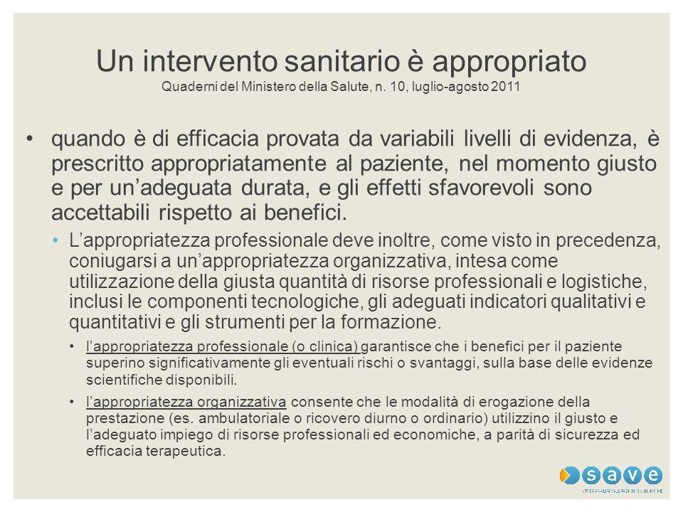 Un intervento sanitario è appropriato Quaderni del Ministero della Salute, n. 10, luglio-agosto 2011 quando è di efficacia provata da variabili livell