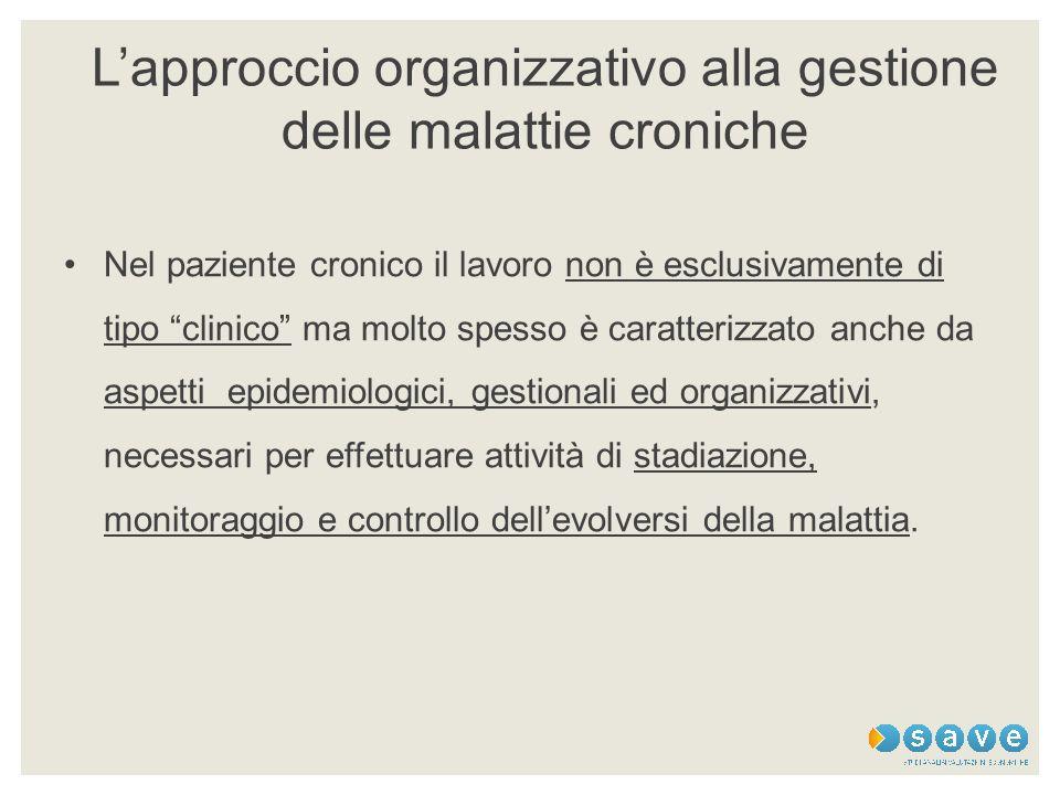 """L'approccio organizzativo alla gestione delle malattie croniche Nel paziente cronico il lavoro non è esclusivamente di tipo """"clinico"""" ma molto spesso"""