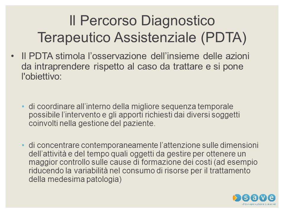 Il Percorso Diagnostico Terapeutico Assistenziale (PDTA) Il PDTA stimola l'osservazione dell'insieme delle azioni da intraprendere rispetto al caso da