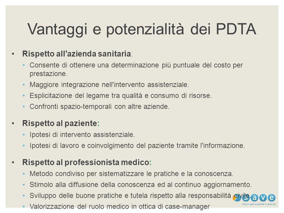 Vantaggi e potenzialità dei PDTA Rispetto all'azienda sanitaria: Consente di ottenere una determinazione più puntuale del costo per prestazione. Maggi