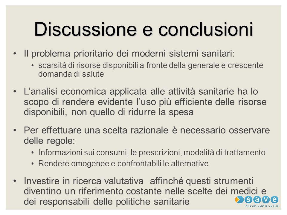 Discussione e conclusioni Il problema prioritario dei moderni sistemi sanitari: scarsità di risorse disponibili a fronte della generale e crescente do