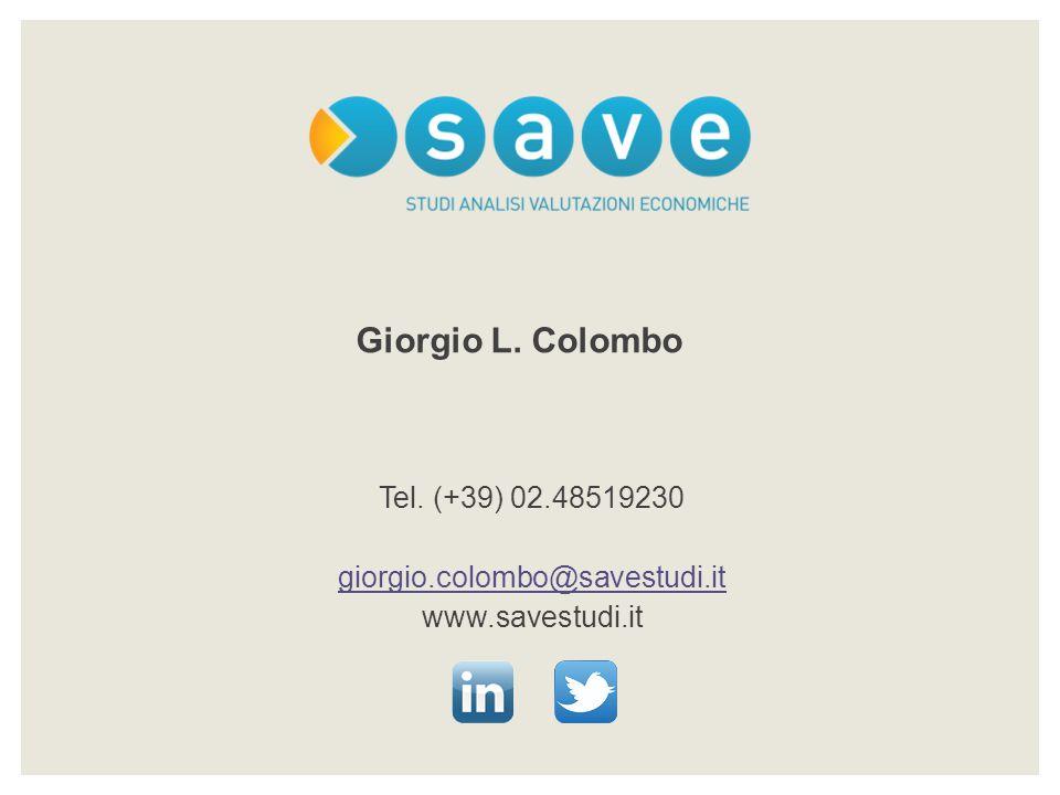 Tel. (+39) 02.48519230 giorgio.colombo@savestudi.it www.savestudi.it Giorgio L. Colombo