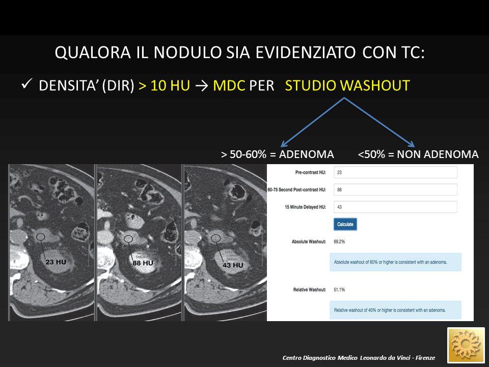 Centro Diagnostico Medico Leonardo da Vinci - Firenze QUALORA IL NODULO SIA EVIDENZIATO CON RM: Caratteri di segnale nelle immagini T1- e T2-dipendenti Caduta del segnale nelle immagini T1 fuori fase .