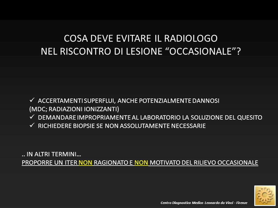 Centro Diagnostico Medico Leonardo da Vinci - Firenze PARAMETRI DELLE METODICHE DI IMAGING EG TC RM ECOGENICITA' STUDIO DOPPLER CEUS DENSITA' (HU) MDC DINAMICO INT.