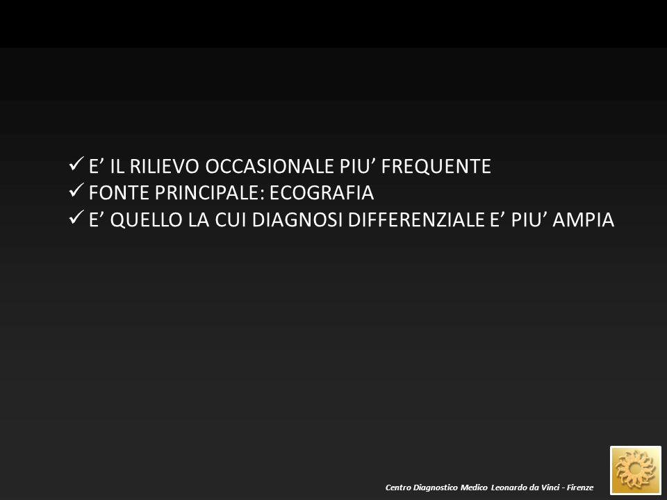 Centro Diagnostico Medico Leonardo da Vinci - Firenze LESIONE IPERECOGENA LESIONE ISOECOGENA LESIONE IPOECOGENA NB: TALE DEFINIZIONE NON E' ASSOLUTA, BENSI' SI RAPPORTA AL PARENCHIMA EPATICO ADIACENTE: ANCHE LO STATO DI QUEST'ULTIMO DEVE ESSERE CONSIDERATO