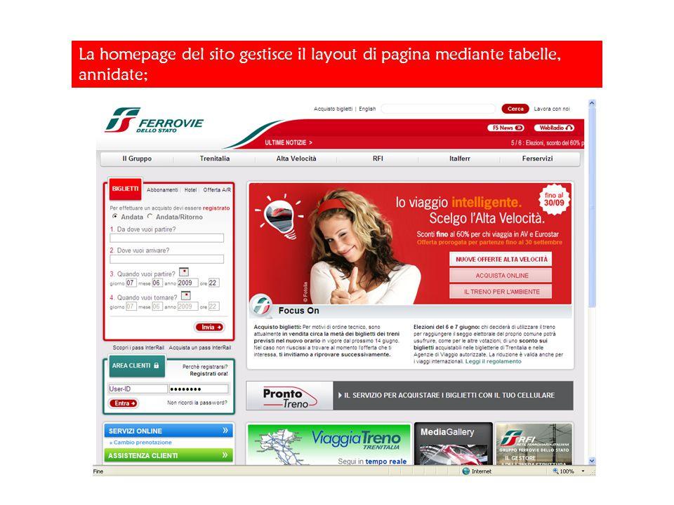 La homepage del sito gestisce il layout di pagina mediante tabelle, annidate;