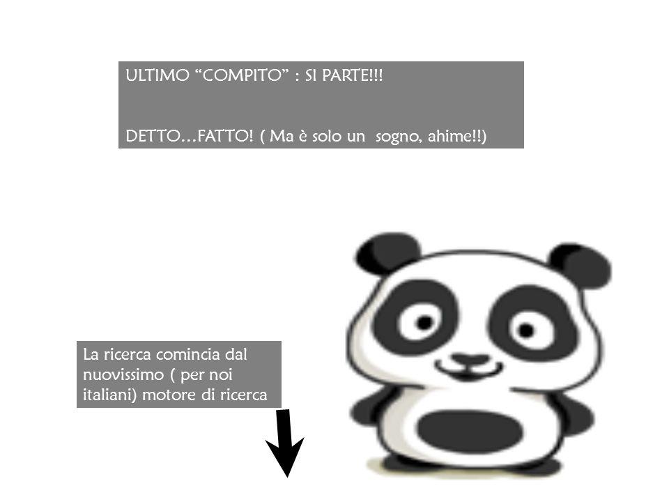 ULTIMO COMPITO : SI PARTE!!. DETTO…FATTO.