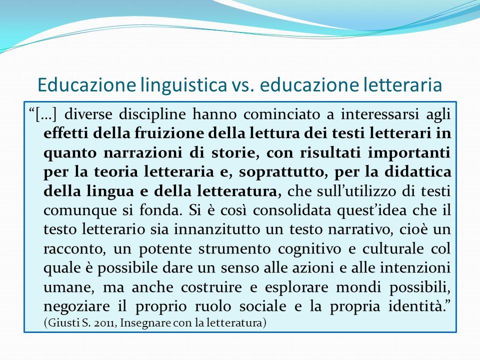 """Educazione linguistica vs. educazione letteraria """"[…] diverse discipline hanno cominciato a interessarsi agli effetti della fruizione della lettura de"""