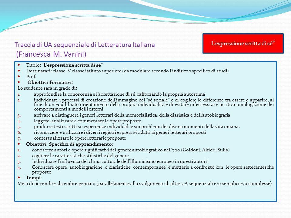 """Traccia di UA sequenziale di Letteratura Italiana (Francesca M. Vanini) Titolo: """"L'espressione scritta di sé"""" Destinatari: classe IV classe istituto s"""