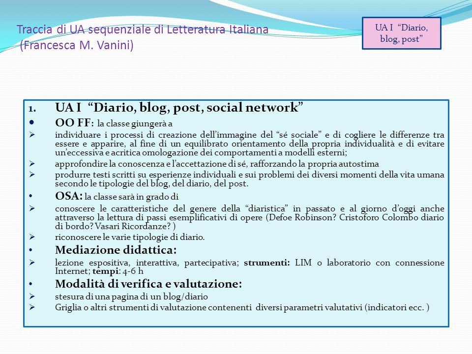 """Traccia di UA sequenziale di Letteratura Italiana (Francesca M. Vanini) 1. UA I """"Diario, blog, post, social network"""" OO FF : la classe giungerà a  in"""