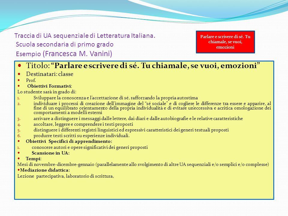 """Traccia di UA sequenziale di Letteratura Italiana. Scuola secondaria di primo grado Esempio (Francesca M. Vanini) Titolo: """"Parlare e scrivere di sé. T"""