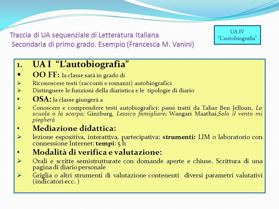 """Traccia di UA sequenziale di Letteratura Italiana Secondaria di primo grado. Esempio (Francesca M. Vanini) 1. UA I """"L'autobiografia"""" OO FF : la classe"""