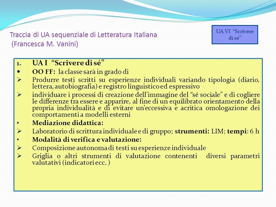 """Traccia di UA sequenziale di Letteratura Italiana (Francesca M. Vanini) 1. UA I """"Scrivere di sé"""" OO FF: la classe sarà in grado di  Produrre testi sc"""