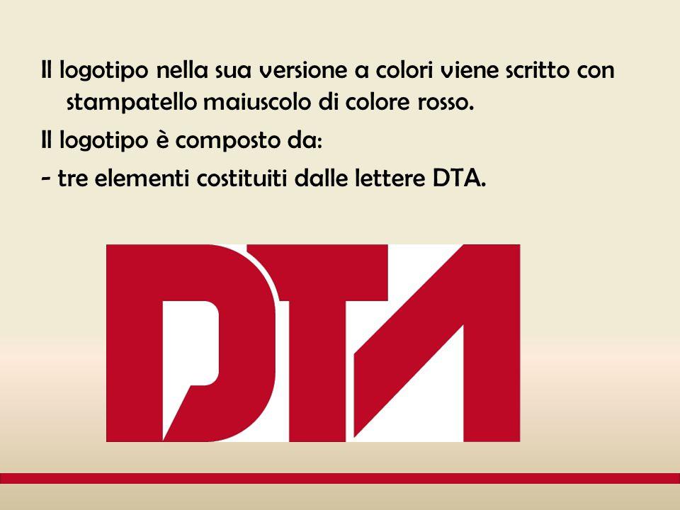 Il logotipo nella sua versione a colori viene scritto con stampatello maiuscolo di colore rosso. Il logotipo è composto da: - tre elementi costituiti