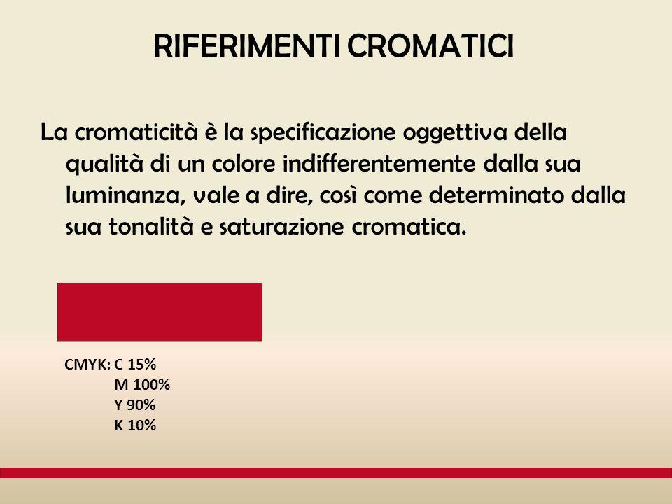 RIFERIMENTI CROMATICI La cromaticità è la specificazione oggettiva della qualità di un colore indifferentemente dalla sua luminanza, vale a dire, così