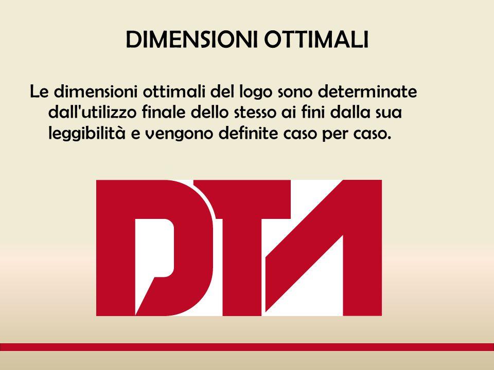 DIMENSIONI OTTIMALI Le dimensioni ottimali del logo sono determinate dall'utilizzo finale dello stesso ai fini dalla sua leggibilità e vengono definit
