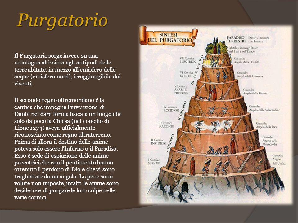 Purgatorio Il Purgatorio sorge invece su una montagna altissima agli antipodi delle terre abitate, in mezzo all'emisfero delle acque (emisfero nord),