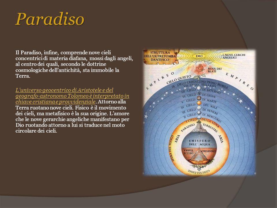 Paradiso Il Paradiso, infine, comprende nove cieli concentrici di materia diafana, mossi dagli angeli, al centro dei quali, secondo le dottrine cosmol