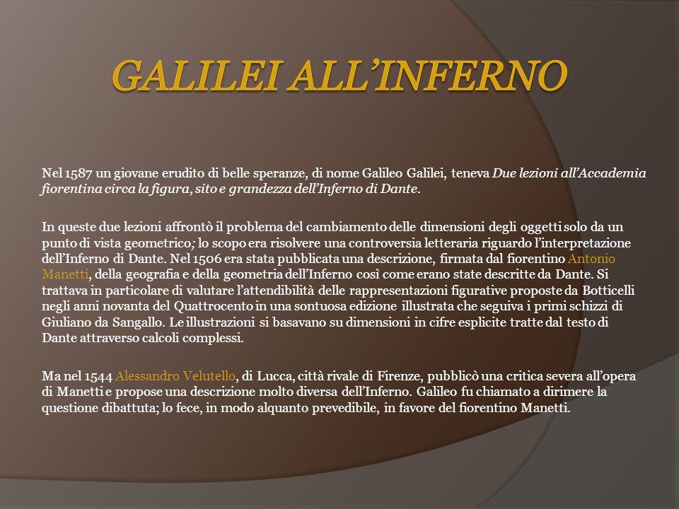Nel 1587 un giovane erudito di belle speranze, di nome Galileo Galilei, teneva Due lezioni all'Accademia fiorentina circa la figura, sito e grandezza