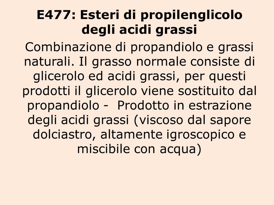 E477: Esteri di propilenglicolo degli acidi grassi Combinazione di propandiolo e grassi naturali.