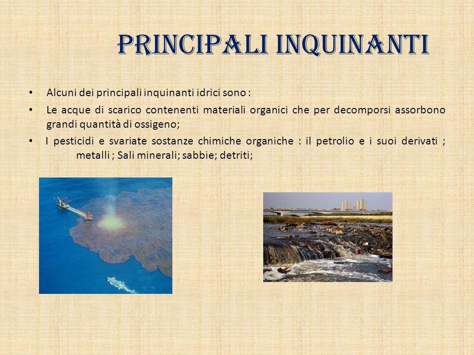 Principali inquinanti Alcuni dei principali inquinanti idrici sono : Le acque di scarico contenenti materiali organici che per decomporsi assorbono gr