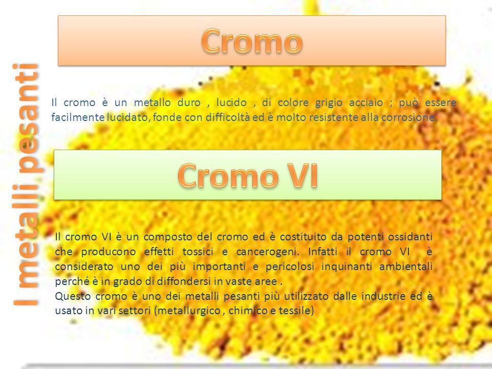 Il cromo VI è un composto del cromo ed è costituito da potenti ossidanti che producono effetti tossici e cancerogeni. Infatti il cromo VI è considerat