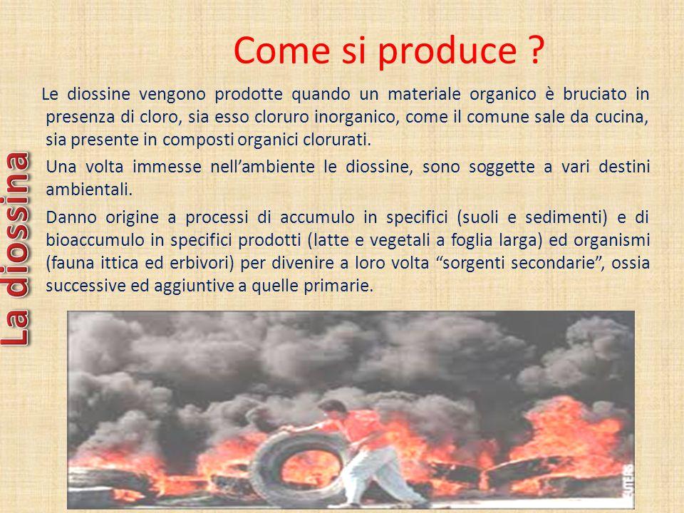 Come si produce ? Le diossine vengono prodotte quando un materiale organico è bruciato in presenza di cloro, sia esso cloruro inorganico, come il comu