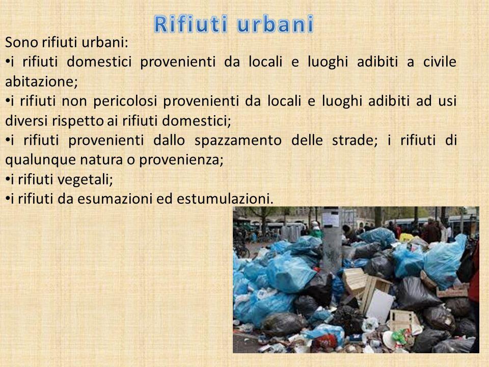 Sono rifiuti urbani: i rifiuti domestici provenienti da locali e luoghi adibiti a civile abitazione; i rifiuti non pericolosi provenienti da locali e