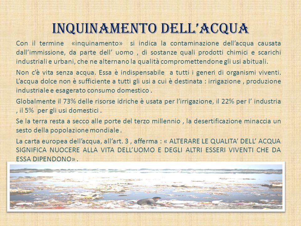 INQUINAMENTO DELL'ACQUA Con il termine «inquinamento» si indica la contaminazione dell'acqua causata dall'immissione, da parte dell' uomo, di sostanze