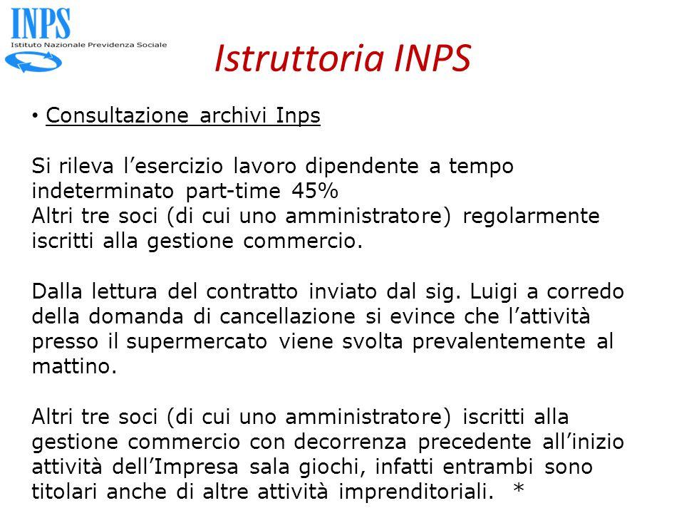 Istruttoria INPS Consultazione archivi Inps Si rileva l'esercizio lavoro dipendente a tempo indeterminato part-time 45% Altri tre soci (di cui uno amministratore) regolarmente iscritti alla gestione commercio.