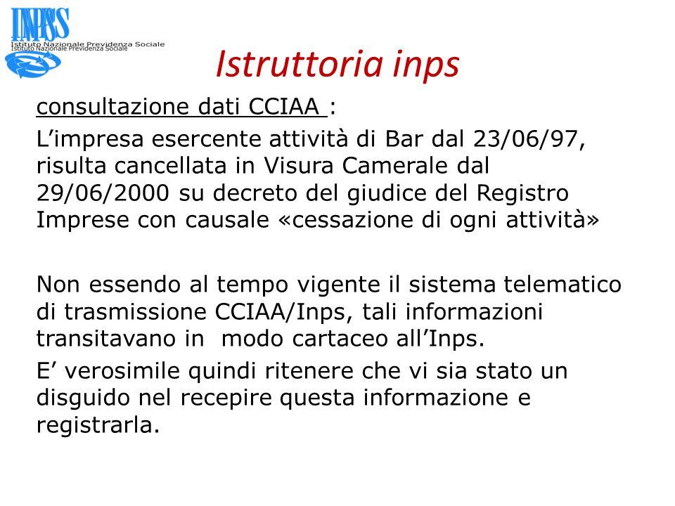 Istruttoria inps consultazione dati CCIAA : L'impresa esercente attività di Bar dal 23/06/97, risulta cancellata in Visura Camerale dal 29/06/2000 su