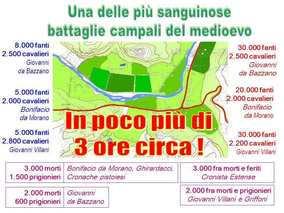 30.000 fanti 2.500 cavalieri Giovanni da Bazzano 20.000 fanti 2.000 cavalieri Bonifacio da M orano 30.000 fanti 2.200 cavalieri Giovanni Villani 8.000