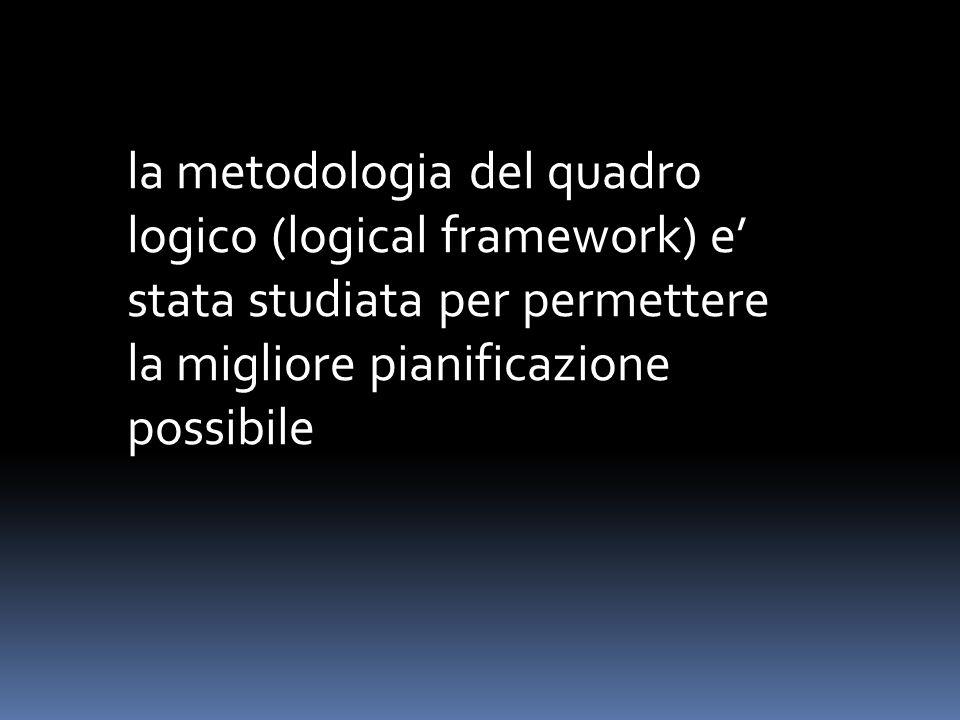 la metodologia del quadro logico (logical framework) e' stata studiata per permettere la migliore pianificazione possibile