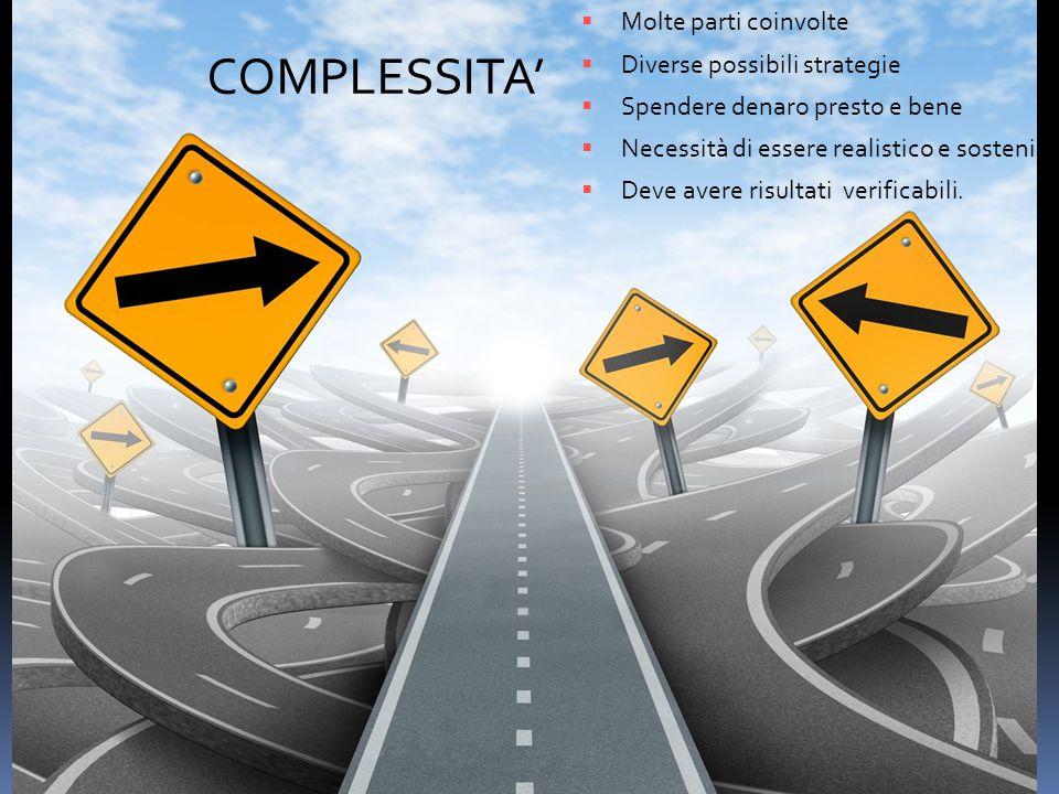 COMPLESSITA'  Molte parti coinvolte  Diverse possibili strategie  Spendere denaro presto e bene  Necessità di essere realistico e sostenibile  Deve avere risultati verificabili.