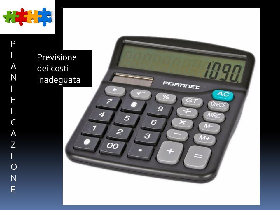 PIANIFICAZIONEPIANIFICAZIONE Previsione dei costi inadeguata