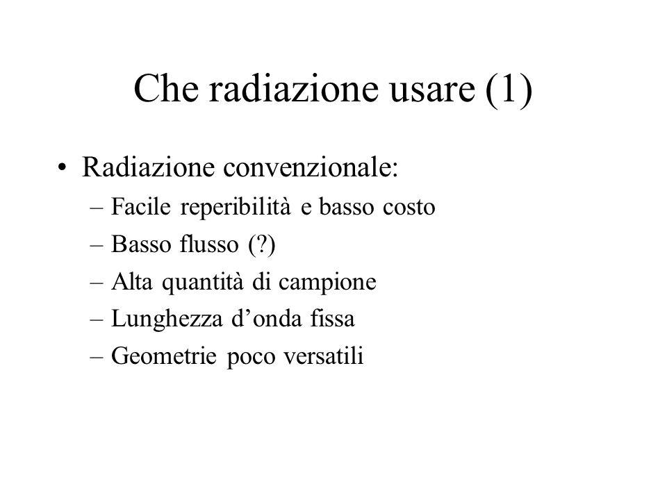 Che radiazione usare (1) Radiazione convenzionale: –Facile reperibilità e basso costo –Basso flusso (?) –Alta quantità di campione –Lunghezza d'onda f