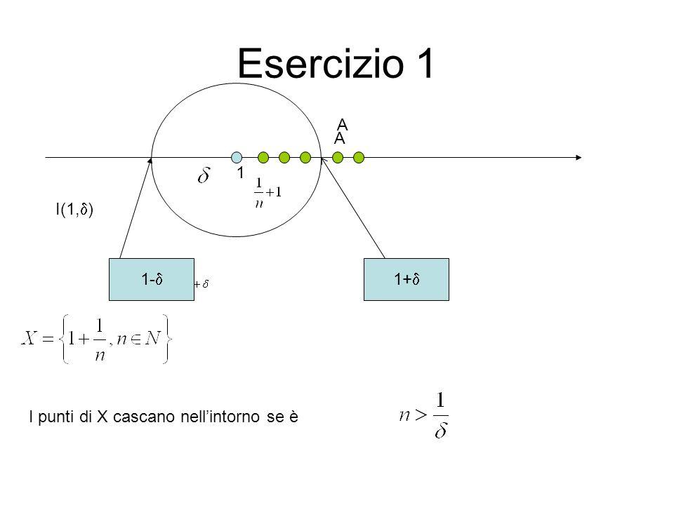 Esercizio 1 1 1+0,1 I(1,  ) A A 1-0,1  =0,1 n>10  =0,01 n>100 Da 1/11 in poi tutti i punti di X cascano in I(1,  ) Da 1/101 in poi tutti i punti di X cascano in I(1,  )