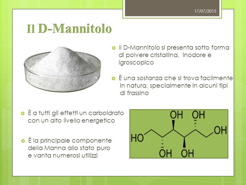 17/07/2015  È a tutti gli effetti un carboidrato con un alto livello energetico  Il D-Mannitolo si presenta sotto forma di polvere cristallina, inod