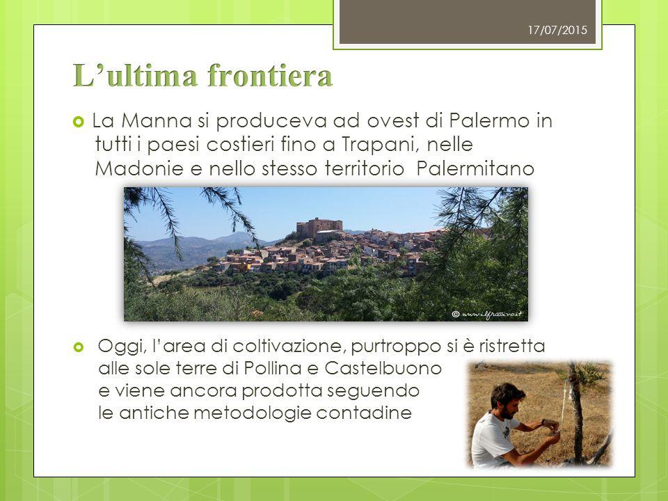  La Manna si produceva ad ovest di Palermo in tutti i paesi costieri fino a Trapani, nelle Madonie e nello stesso territorio Palermitano 17/07/2015 