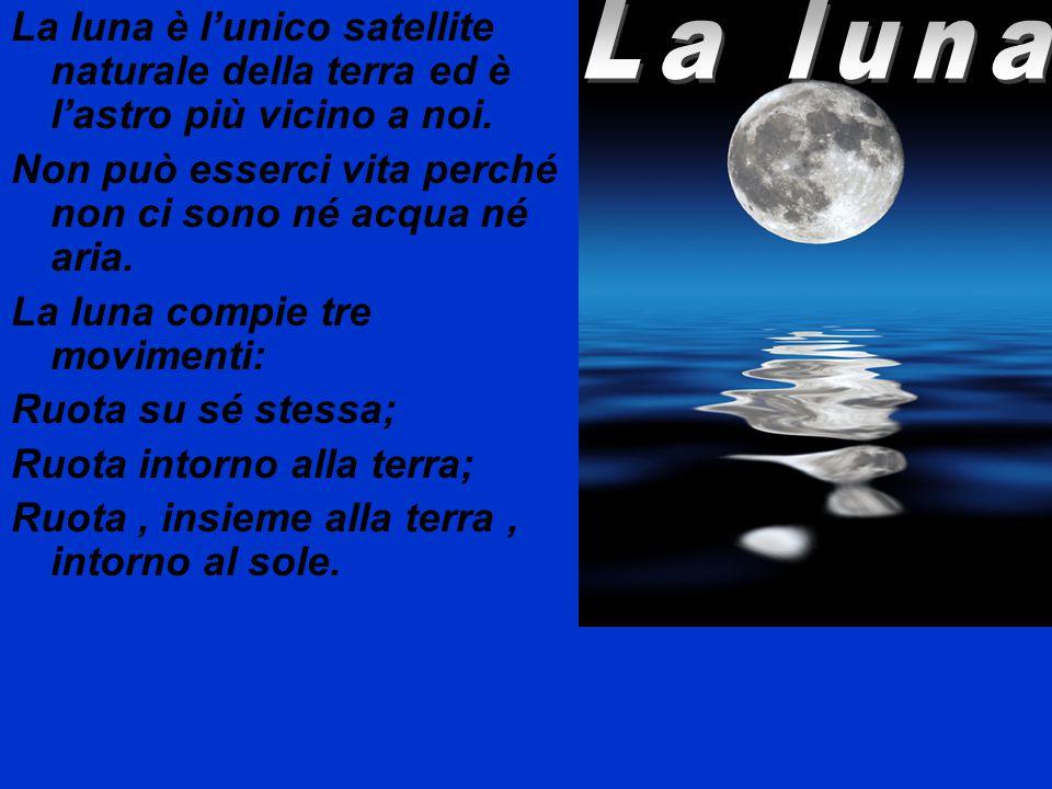 La luna è l'unico satellite naturale della terra ed è l'astro più vicino a noi.