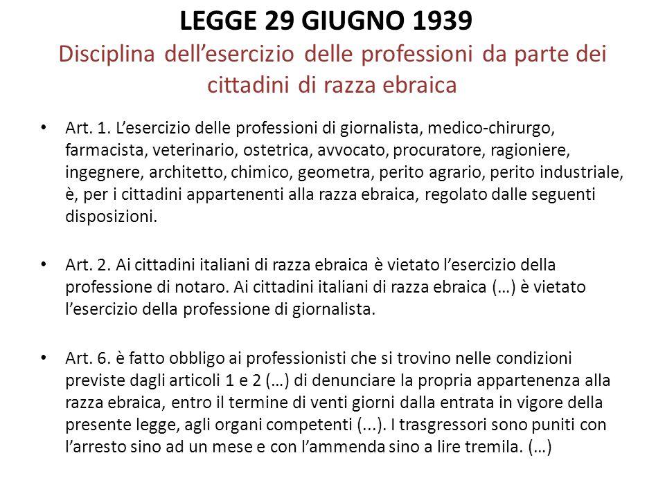 LEGGE 29 GIUGNO 1939 Disciplina dell'esercizio delle professioni da parte dei cittadini di razza ebraica Art. 1. L'esercizio delle professioni di gior