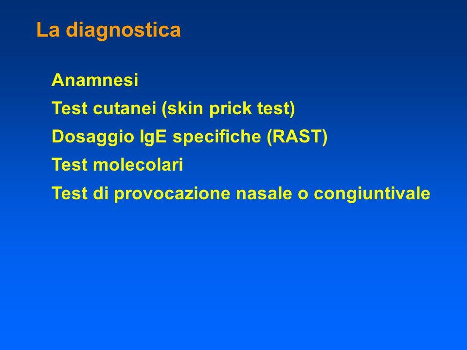 La diagnostica Anamnesi Test cutanei (skin prick test) Dosaggio IgE specifiche (RAST) Test molecolari Test di provocazione nasale o congiuntivale