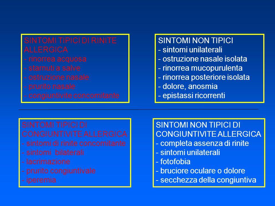 SINTOMI TIPICI DI RINITE ALLERGICA - rinorrea acquosa - starnuti a salve - ostruzione nasale - prurito nasale - congiuntivite concomitante SINTOMI NON