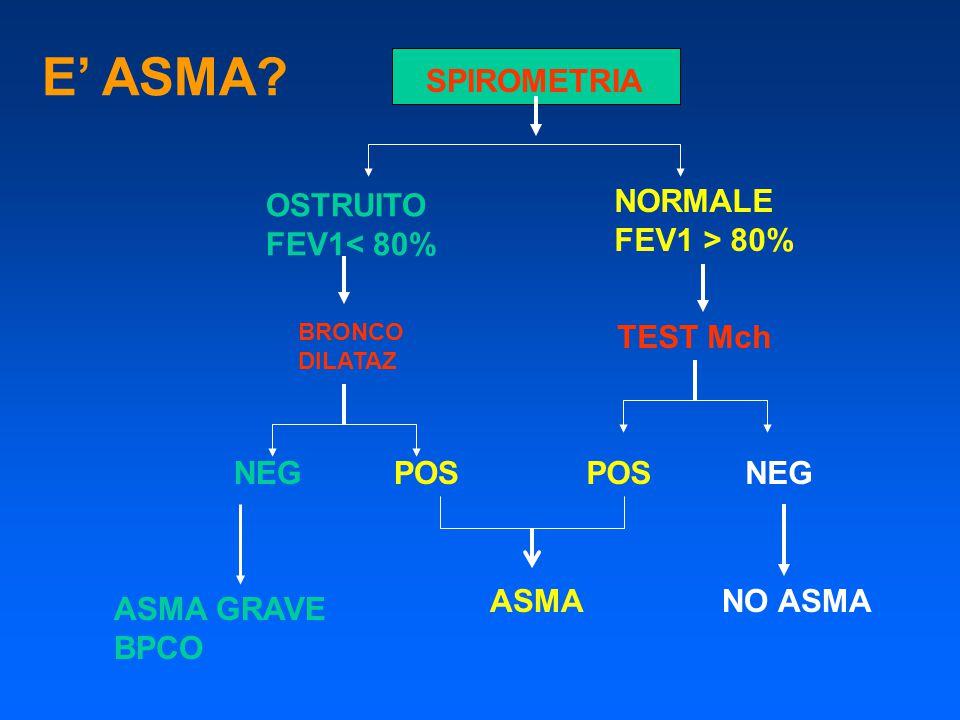 E' ASMA? SPIROMETRIA OSTRUITO FEV1< 80% NORMALE FEV1 > 80% BRONCO DILATAZ TEST Mch NEGPOS NEG ASMANO ASMA ASMA GRAVE BPCO