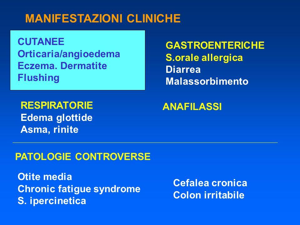 MANIFESTAZIONI CLINICHE CUTANEE Orticaria/angioedema Eczema. Dermatite Flushing GASTROENTERICHE S.orale allergica Diarrea Malassorbimento RESPIRATORIE