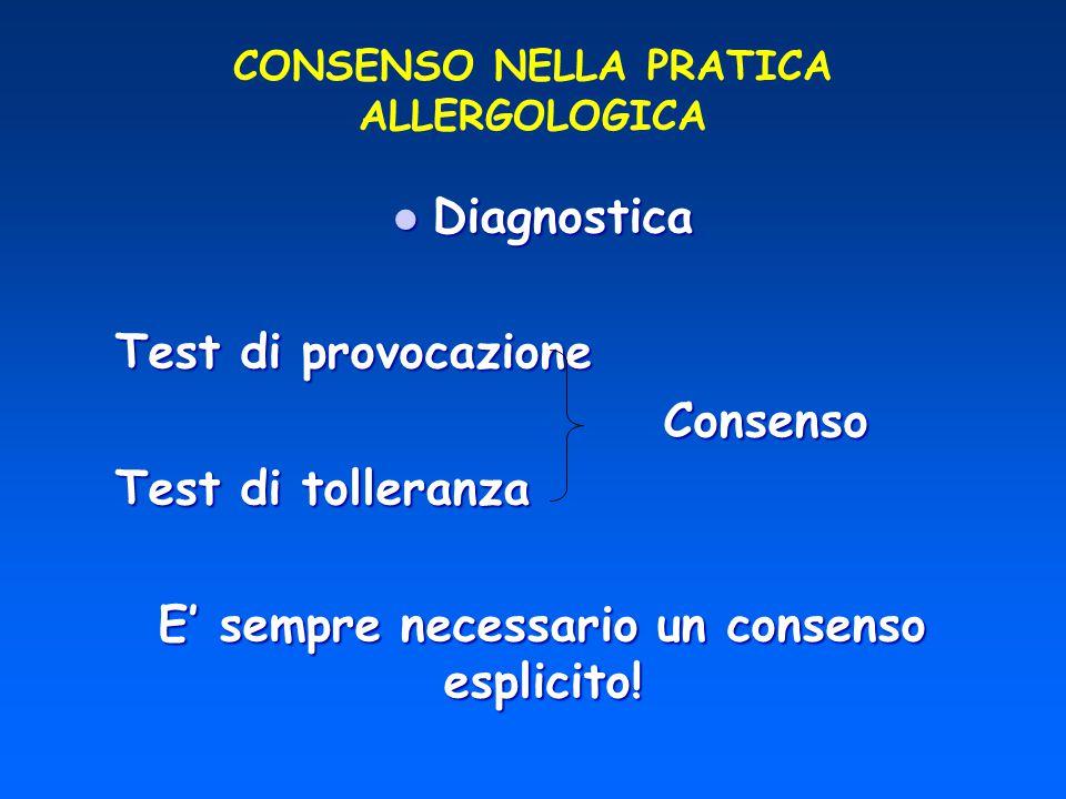 CONSENSO NELLA PRATICA ALLERGOLOGICA Diagnostica Diagnostica Test di provocazione Test di provocazione Consenso Consenso Test di tolleranza Test di to